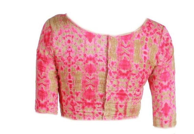 Pure Cotton New Readymade Pink Abstract Printed Blouse Designer Wedding Party Saree Choli Top Tunic Sari Boat Neck