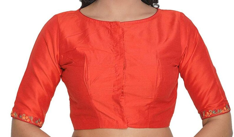 Orange Cotton Silk New Indian Designer Readymade Blouse For Women Wear Saree Choli Top Tunic SariBlouse,Wedding Wear,Festive Wear