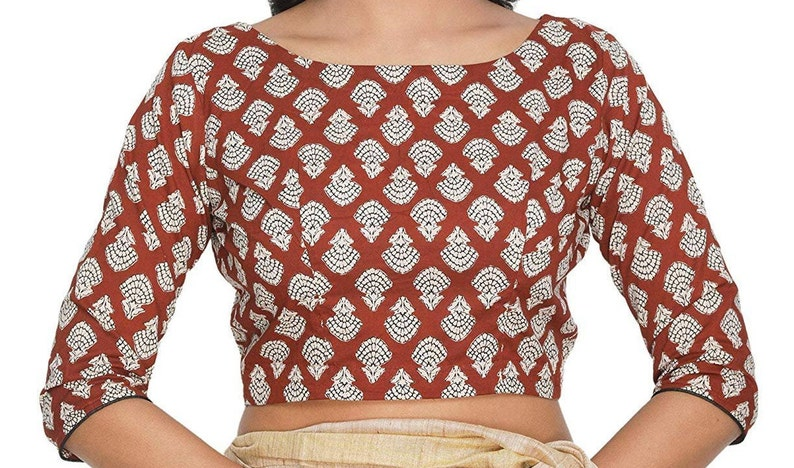Brown Pure Cotton Rust Printed Pattern Indian Designer Readymade Blouse For Women Wear Choli Top Tunic SariBlouse,Daily Wear,Casual Wear