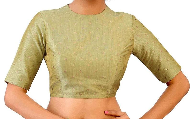 Light Golden Brocade Art Silk Elbow Length Sleeves Jewel Neck New Indian Designer Readymade Blouse For Women Wear Choli Top Tunic Blouse