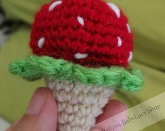 Crochet PDF pattern strawberry ice cream