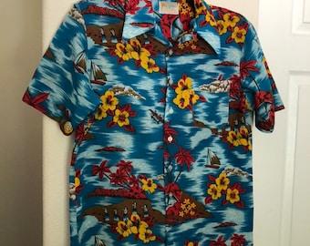 fe54559b Aloha Vintage Bright Blemie Floral Hawaiian Shirt - Men's Size Medium -  Dancing Hula Girls - Polyester Button Up - 1970's Shirt