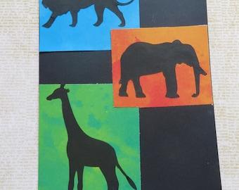 Three Africa Inspired Handmade Greeting Cards Set 5