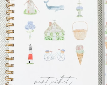Nantucket Icons Watercolor Print Hard-Cover Spiral Notebook | Ships in 1-2 Weeks
