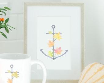Autumn Anchor Watercolor Print