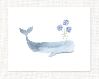 Hydrangea Whale Watercolor Print Folded Notecards