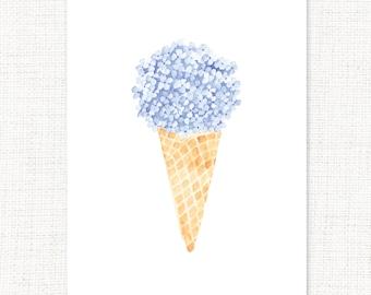 Hydrangea Cone Watercolor Print Folded Notecards