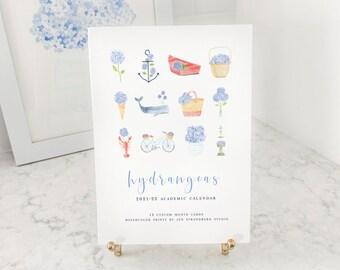 Hydrangeas Always Watercolor Print Tabletop Calendar | 2021-22 Academic or 2022 Yearly