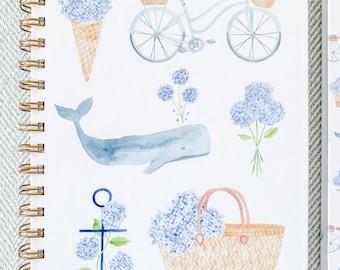 Hydrangeas Always Watercolor Print Hard-Cover Spiral Notebook