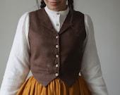 1900 -1910s Edwardian Fashion, Clothing & Costumes Jo Vest in One color linen Vest $118.00 AT vintagedancer.com