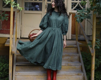 Meg Dress in Forest Green with sleeves 3/4, Linen Dress