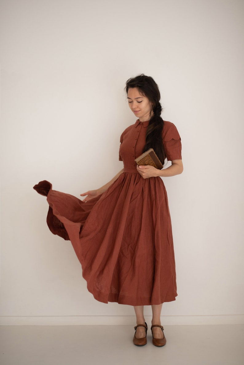 1900 -1910s Edwardian Fashion, Clothing & Costumes Jo Dress in Rust with short sleeves Linen Dress $231.00 AT vintagedancer.com