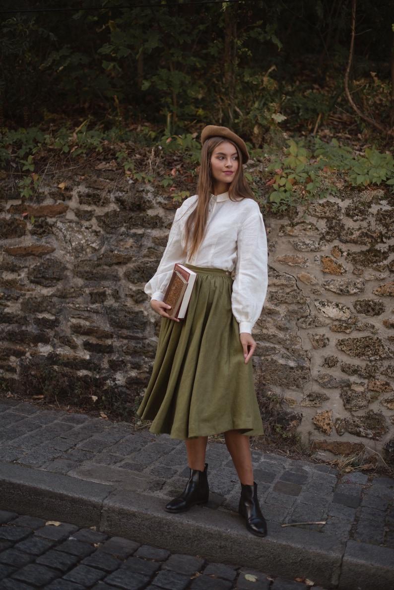 Cottagecore Clothing, Soft Aesthetic Meg Linen Skirt in Moss Green Victorian skirt $152.00 AT vintagedancer.com