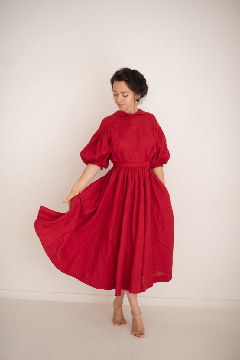 1900 -1910s Edwardian Fashion, Clothing & Costumes Meg Dress in Red with short sleeves Linen Dress $231.00 AT vintagedancer.com