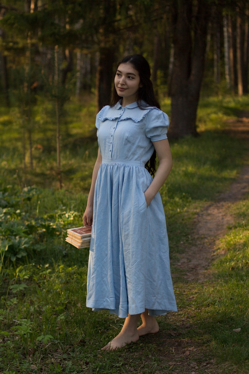 Cottagecore Clothing, Soft Aesthetic Amy Dress in Sky Blue with short sleeves Linen Dress $206.00 AT vintagedancer.com