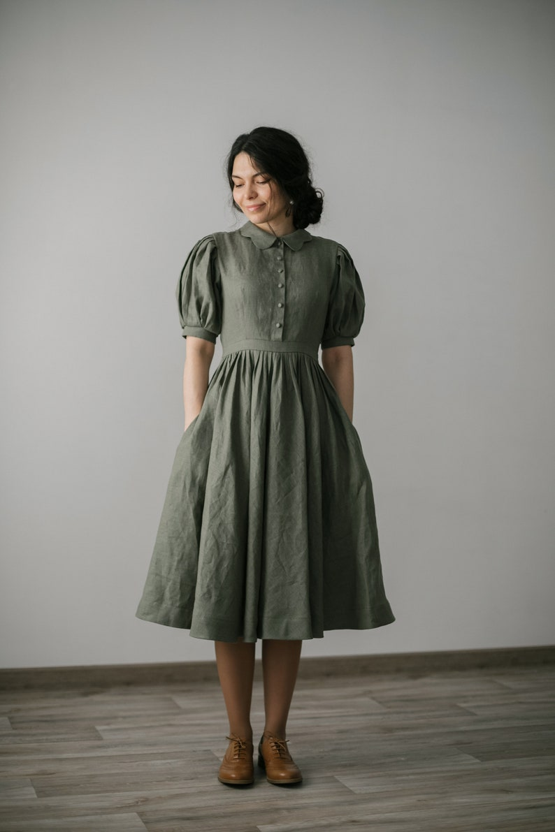 Cottagecore Clothing, Soft Aesthetic Beth Dress in Sage green with short sleeves Linen Dress $235.00 AT vintagedancer.com