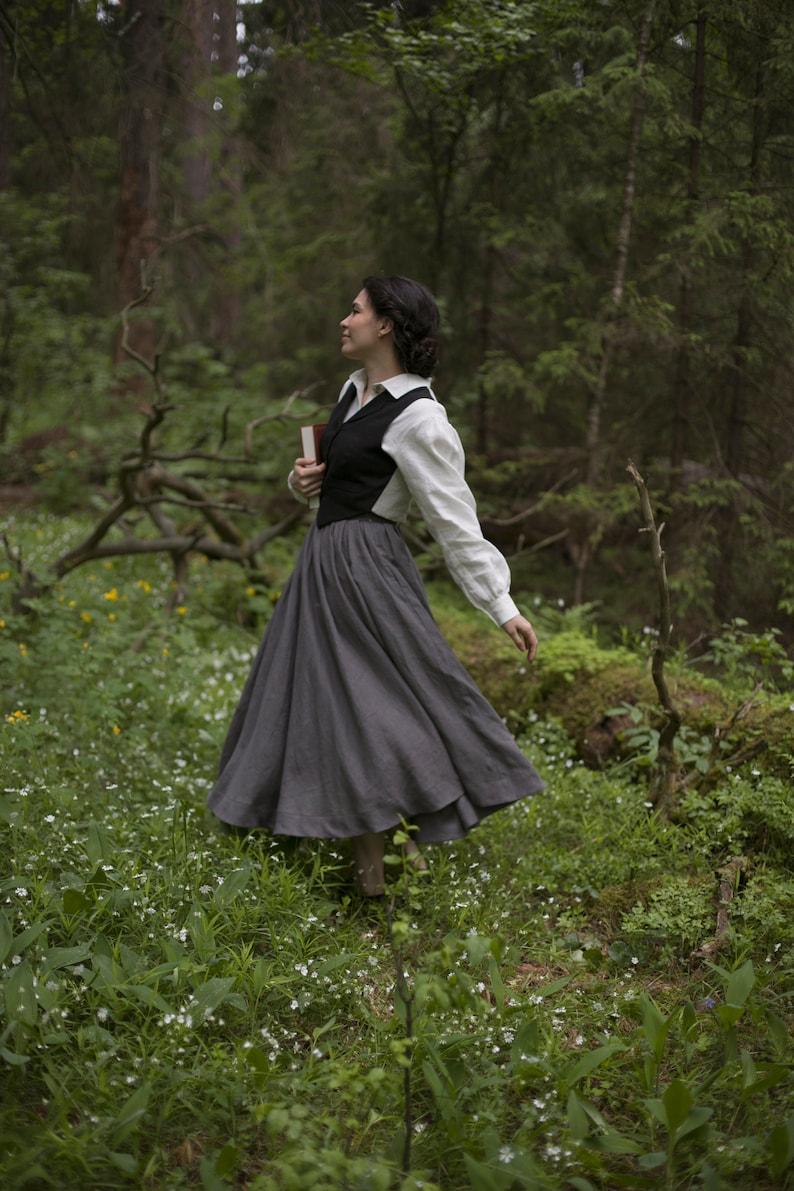 Ready to Ship Victorian Skirt Jo Linen Skirt Color Dark Grey