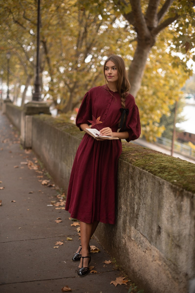 Cottagecore Clothing, Soft Aesthetic Meg Dress in Burgundy with sleeves 3/4 Linen Dress $214.00 AT vintagedancer.com