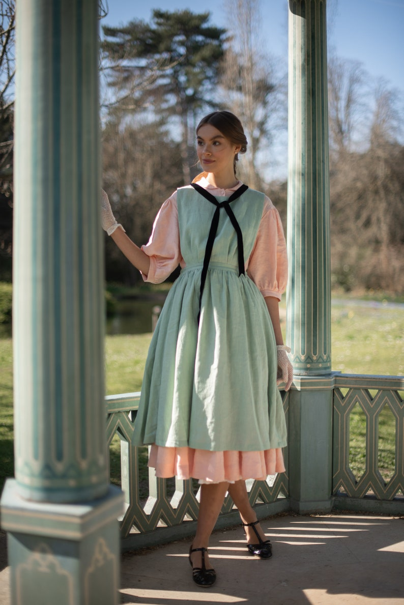Edwardian Outfit Inspiration & Ideas     Amy pinafore Linen apron in Mint Green $129.00 AT vintagedancer.com