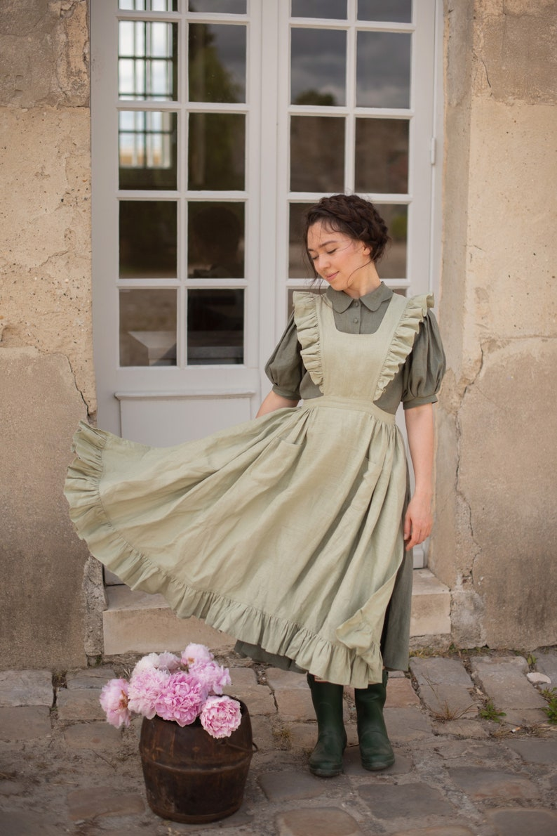 Cottagecore Clothing, Soft Aesthetic Meg pinafore Linen apron in Olive Green $126.00 AT vintagedancer.com