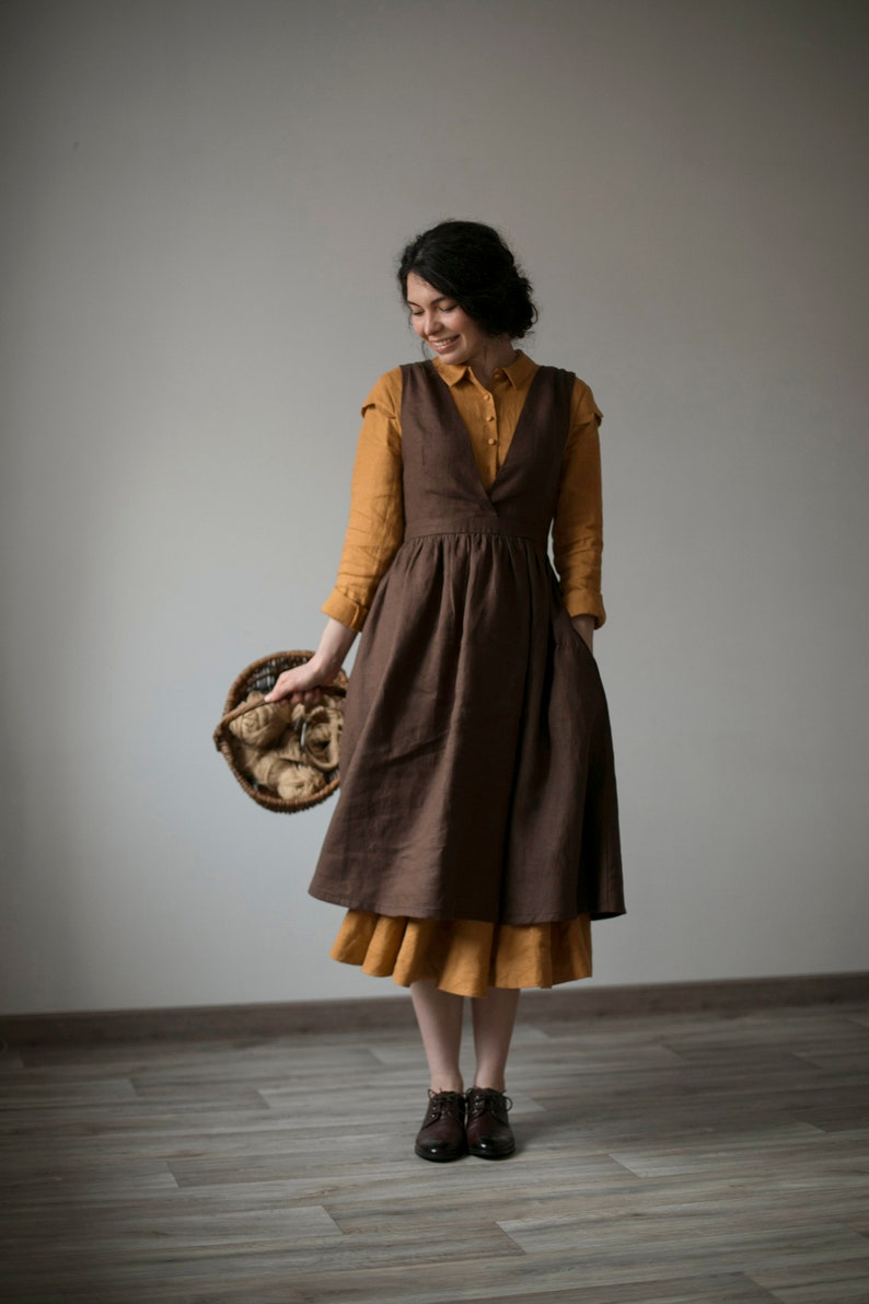 Cottagecore Clothing, Soft Aesthetic Jo pinafore in Chocolate Linen apron $159.00 AT vintagedancer.com