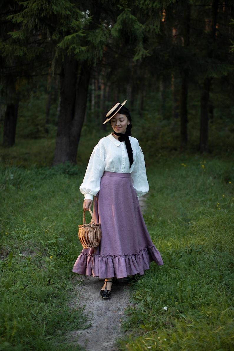 Edwardian Skirts History – 1900 – 1910s Marmee Linen Skirt in Lilac Victorian skirt $165.00 AT vintagedancer.com