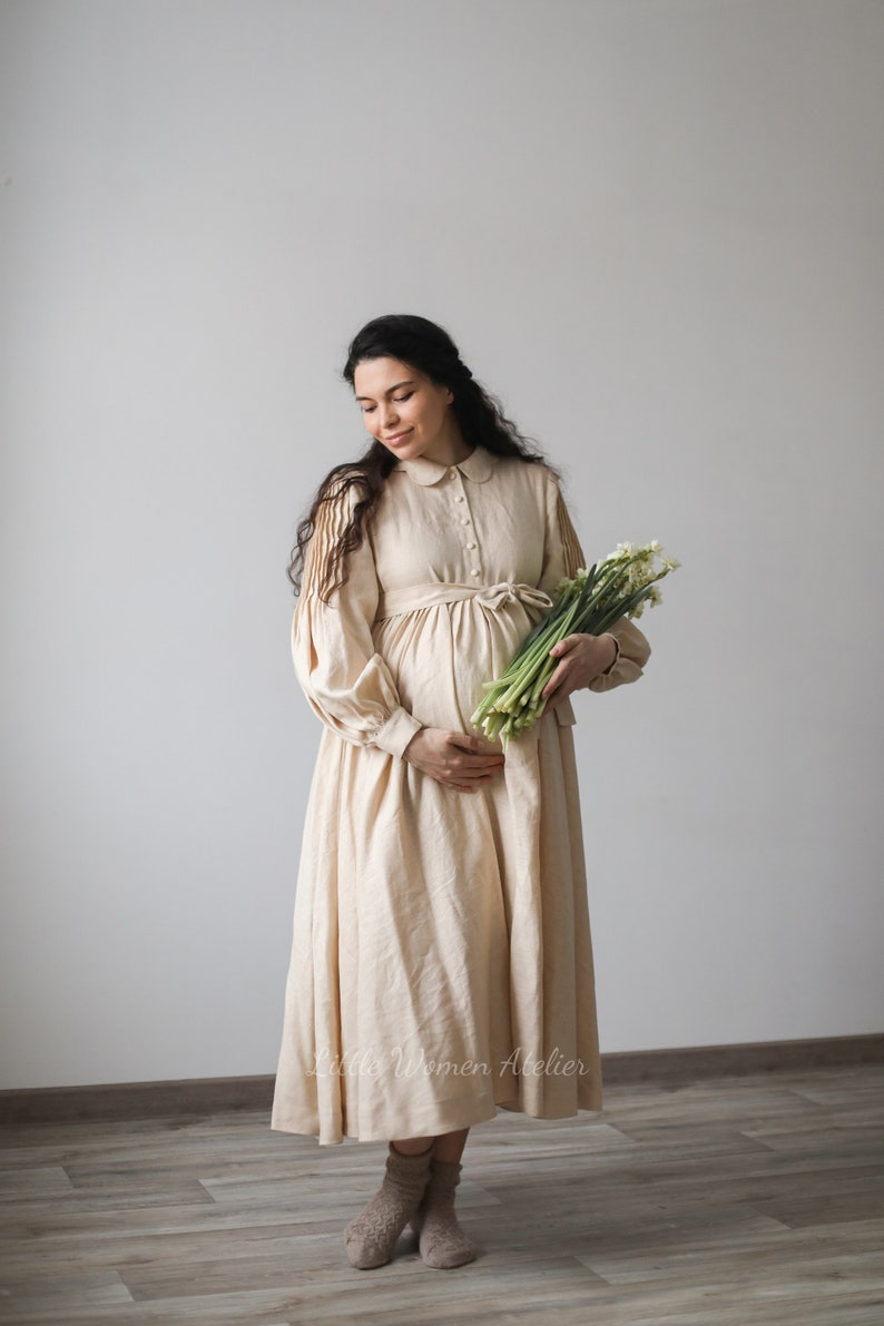 Vintage Maternity Dresses and Clothes Beth Oversized Dress with long sleeves $261.00 AT vintagedancer.com