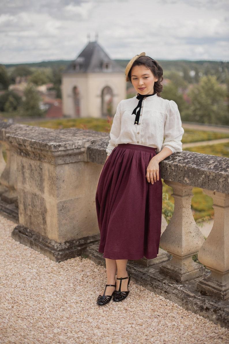 Edwardian Skirts History – 1900 – 1910s Jo Linen Skirt Victorian skirt $152.00 AT vintagedancer.com