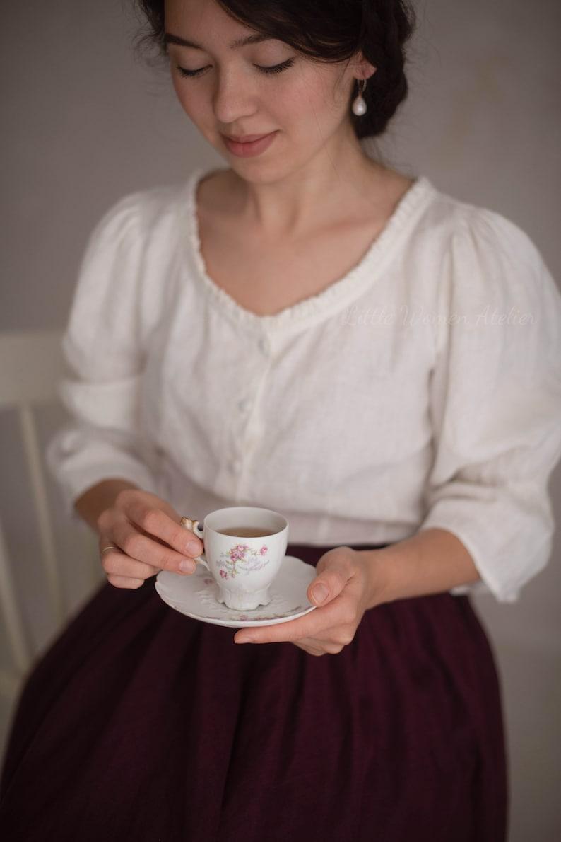 1900 -1910s Edwardian Fashion, Clothing & Costumes Amy Linen Blouse Victorian blouse $156.00 AT vintagedancer.com