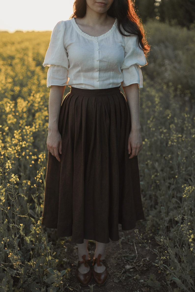 Cottagecore Clothing, Soft Aesthetic Amy Linen Skirt in Chocolate Victorian skirt $130.00 AT vintagedancer.com