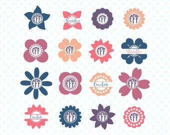 Split monogram svg, Monogram frame, svg monogram, SVG bundle, monogram bundle, cricut bundle, Summer SVG, flower svg, svg cut file, svg cut