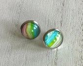 spring boho earrings, light everyday stainless steel hypoallergenic stud earrings, everyday artisan jewelry