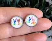 seven chakras earrings, stainless steel hypoallergenic stud earrings, light everyday jewelry for women, glass earrings, meditation jewelry