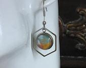 stainless steel hypoallergenic dangle earrings, octagon earrings for women, stylish light everyday earrings, unique artisan jewelry