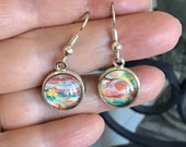 dainty stainless steel hypoallergenic dangle earrings, round multi-coloured earring for women, stylish light everyday unique artisan jewelry