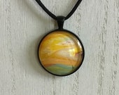 yellow sunset pendant necklace, glass necklace, everyday unique necklaces for women, statement necklace, artisan jewelry for nature lovers