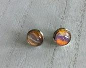 delicate light earrings, stainless steel hypoallergenic stud earrings,  artisan jewelry everyday earrings for women, glass earrings