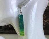 green dangle earrings for women, stainless steel hypoallergenic shiny drop earrings for women, light easy to wear everyday artisan jewelry