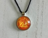 Unisex glass pendant necklace, warm energy pendant necklace, comfortable everyday artisan jewelry for women, statement piece jewelry