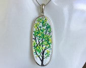 double sided stone pendant necklace, unisex winter summer hand painted necklace, comfortable everyday jewelry, unique artisan jewelry