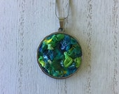 stainless steel pendant necklace for women, blue and green everyday necklace with stainless steal chain, durable unique artisan jewelry