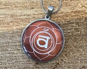 Sacral Chakra pendant necklace, unisex yoga jewelry, comfortable durable stainless steel hypoallergenic necklace, spirituality jewelry