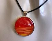 orange sunrise pendant necklace, comfortable everyday jewelry, unisex artisan jewelry, statement silver glass necklace