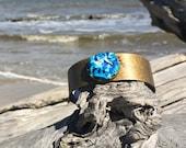 bronze beach cuff bracelet with raised blue ocean centre piece, unisex bracelet, unique comfortable everyday artisan jewelry made to last