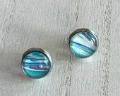 funky beach earrings, stainless steel hypoallergenic stud earrings, light everyday artisan jewelry for women, glass earrings