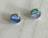 funky stud earrings, hypoallergenic stainless steel glass earrings, light everyday artisan jewelry for women, multi-coloured earrings