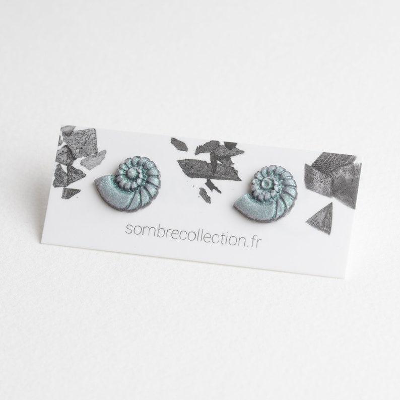 Nautilus earrings studs #1 Vert jade