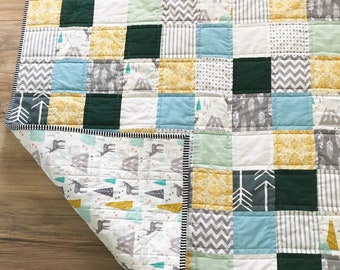 Baby Boy Quilt- Woods and Feathers