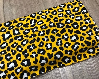 Mustard yellow Leopard Print Cotton Jersey Fabric ec6728652