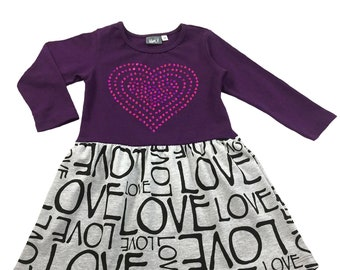 2d2271d7e9f Girls Long Sleeve Purple Fit and Flare Love Dress   Sequin Heart Detail on  Bodice   Size 2T- 6X   Soft comfortable to wear